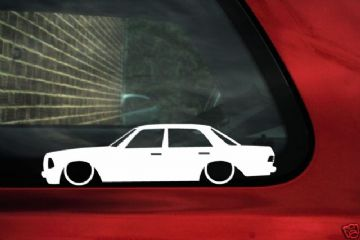 LOW Mercedes Saloon W123,outline, silhouette stickers,Decals for w123,230/230ce /280c /280ce